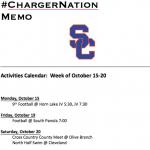 Schedule 10/15-10/20