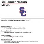 Schedule 10/22-10/27