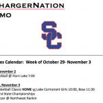Schedule 10/29-11/3
