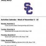 Schedule 11/5 – 11/10