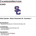 Schedule 11/26-12/1