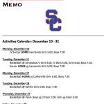 Schedule 12/10 – 12/31