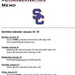Schedule 1/14 – 1/19