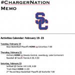 Schedule 2/19 – 2/23