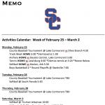 Schedule 2/25 – 3/2