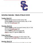 Schedule 3/18 – 3/23