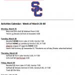Schedule 3/25 – 3/30