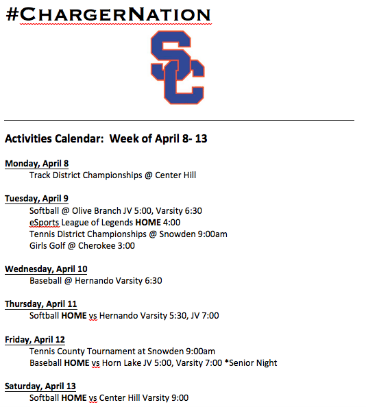 Schedule 4/8 – 4/13