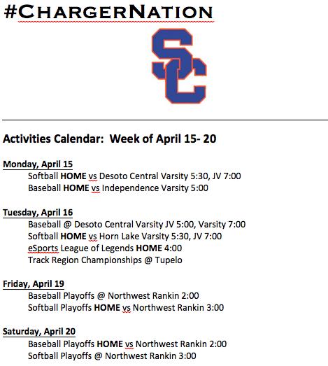 Schedule 4/15 -4/20