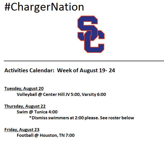 Schedule 8/19 – 8/23
