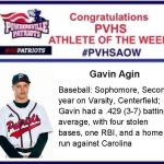 Congratulations PVHS Athlete of the Week!