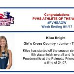 Congratulations Athlete of the Week for Week Ending September 1st!