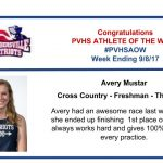 Congratulations Athlete of the Week for Week Ending September 8th!