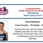 Congratulations Athlete of the Week for the Week Ending September 15th!