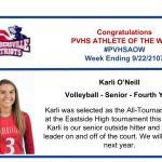 Congratulations Athlete of the Week for Week Ending September 22nd!