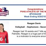 Congratulations Athlete of the Week for Week Ending September 29th!