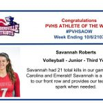 Congratulations Athlete of the Week for the Week Ending October 6th!