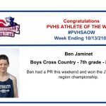 Congratulations Athlete of the Week for Week Ending October 13th!