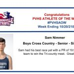 Congratulations Athlete of the Week for Week Ending September 20th!