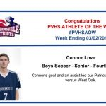 Boy's Soccer Athlete of the Week for Week ending March 2nd