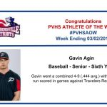 Baseball's Athlete of the Week for Week ending March 2nd!