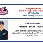 Congratulations to Baseball's Athlete of the Week for the Week Ending March 10th!