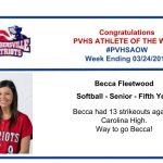Congratulations to the Softball Athlete of the Week!