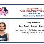 Congratulations to the Boys Track Athlete of the Week!