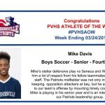 Congratulations to the Boys Soccer Athlete of the Week!