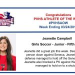 Congratulations to the Girls Soccer Athlete of the Week!
