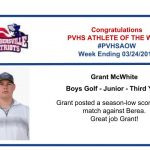 Congratulations to the Boys Golf Athlete of the Week!
