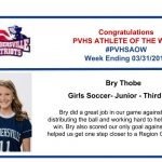 Congratulations to the Girls Soccer Athlete of the Week – Week ending March 31st