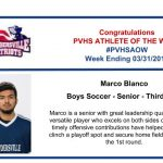 Congratulations to the Boys Soccer Athlete of the Week – Week ending March 31st