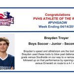 Congratulations to this week's Boys Soccer Athlete of the Week!