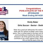 Congratulations to this week's Girls Soccer Athlete of the Week!