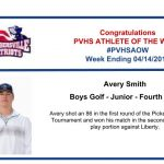Congratulations to this week's Boys Golf Athlete of the Week!