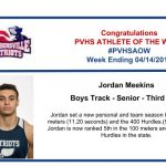 Congratulations to this week's Boys Track Athlete of the Week!