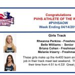 Congratulations to this week's Girls Track Athletes of the Week!