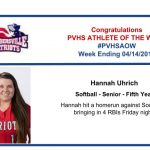 Congratulations to this week's Softball Athlete of the Week!