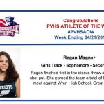 Congratulations to the Girls Track Athlete of the Week!