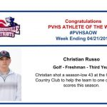Congratulations to the Boy's Golf Athlete of the Week!