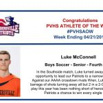 Congratulations to the Boy's Soccer Athlete of the Week!