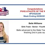 Congratulations to the Girl's Track Athlete of the Week!