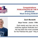 Congratulations to the Boy's Tennis Athlete of the Week!