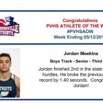 Congratulations to the Boy's Track Athlete of the Week!