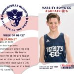 Boy's Cross Country Athlete of the Week Named for Week of August 27th
