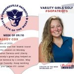 Girls Golf Names Athlete of the Week for Week of September 10th