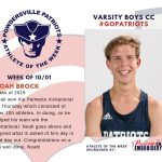 Boys Varsity Cross Country Names the Athlete of the Week for Week of October 1st
