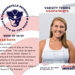 Girls Varsity Tennis Names the Athlete of the Week for the Week of October 1st