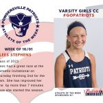 Girls Varsity Cross Country Names the Athlete of the Week for Week of October 1st